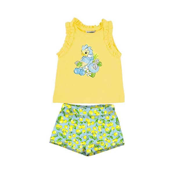 Picture of Mayoral Girls Yellow Parrot Short Set