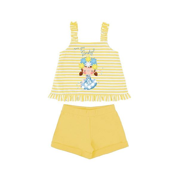 Picture of Mayoral Girls Yellow Stripe Short Set