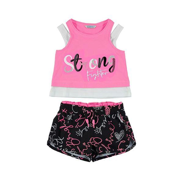 Picture of Mayoral Girls Pink & Black Short Set