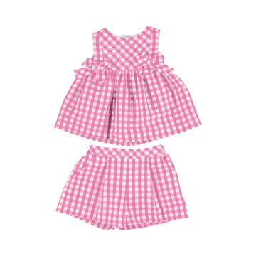 Picture of Mayoral Girls Pink Checked Top & Shorts