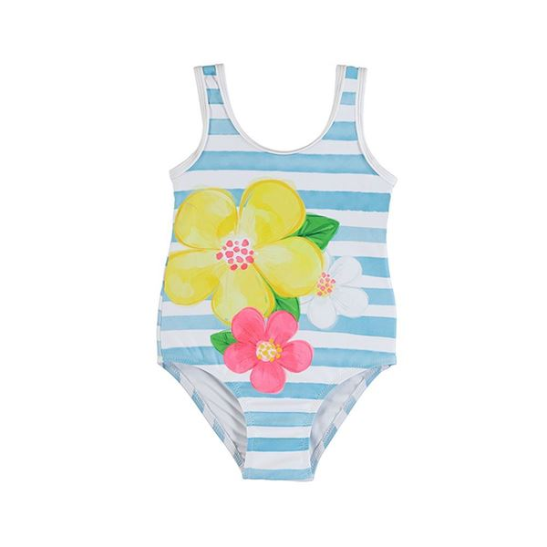 Picture of Mayoral Girls Blue Stipe Swimming Costume