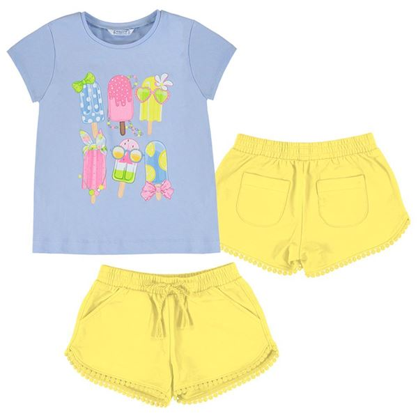 Picture of Mayoral Girls Yellow & Blue Short Set