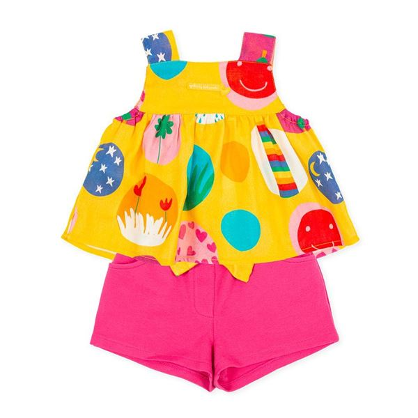 Picture of Agatha Ruiz De La Prada Baby Girls Yellow Printed Short Set