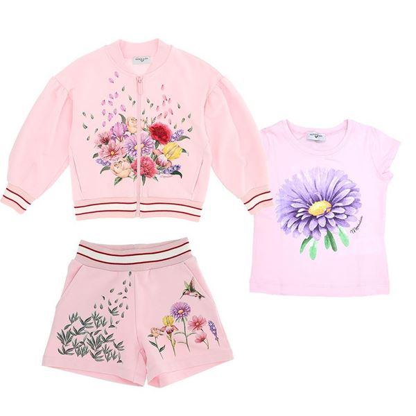 Picture of Monnalisa Girls Pink 3 Piece Flower Short Set