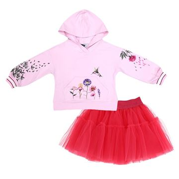 Picture of Monnalisa Girls Pink Flower Hoody with Fuchsia Pink Skirt