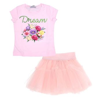 Picture of Monnalisa Girls Pink 'Dream' Top & Skirt Set