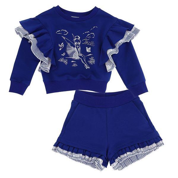 Picture of Monnalisa Girls Blue Fairytale Jumper & Shorts Set