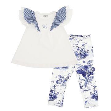 Picture of Monnalisa Girls Blue Frill Sleeve Tunic & Fairy tale Leggings Set