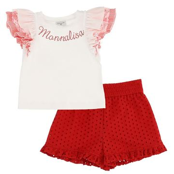 Picture of Monnalisa Girls Red Top & Short Set