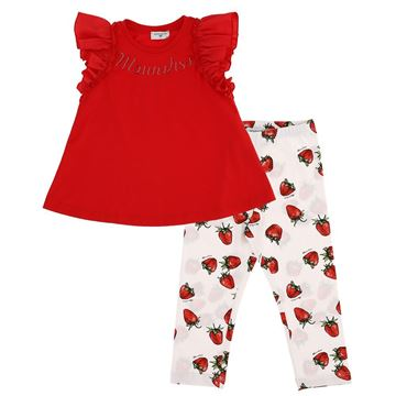 Picture of Monnalisa Girls Red Top & Strawberry Leggings Set