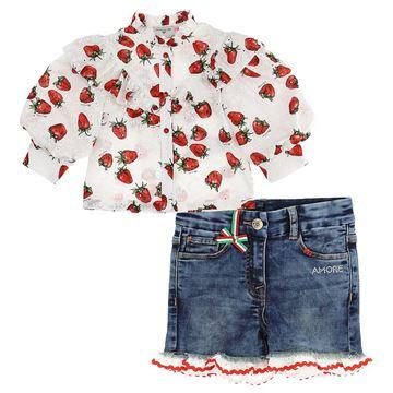 Picture of Monnalisa Girls Strawberry Shirt & Denim Shorts