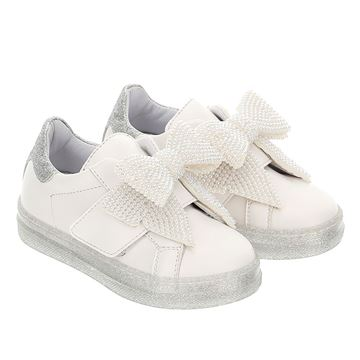 Picture of Monnalisa Girls White Bow Trainers