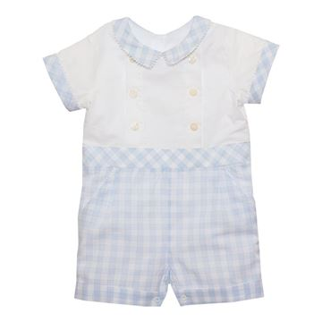 Picture of Patachou Baby Boys Blue & White Check Romper