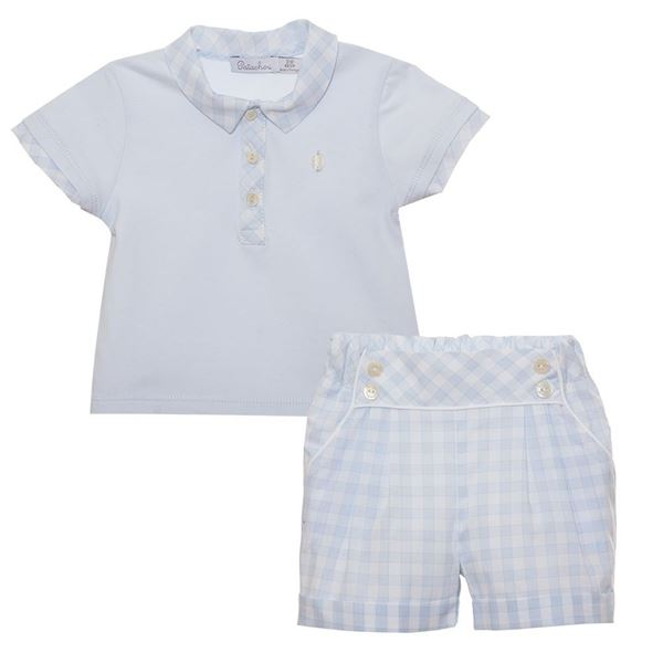Picture of Patachou Baby Boy Blue & White Check Top & Shorts