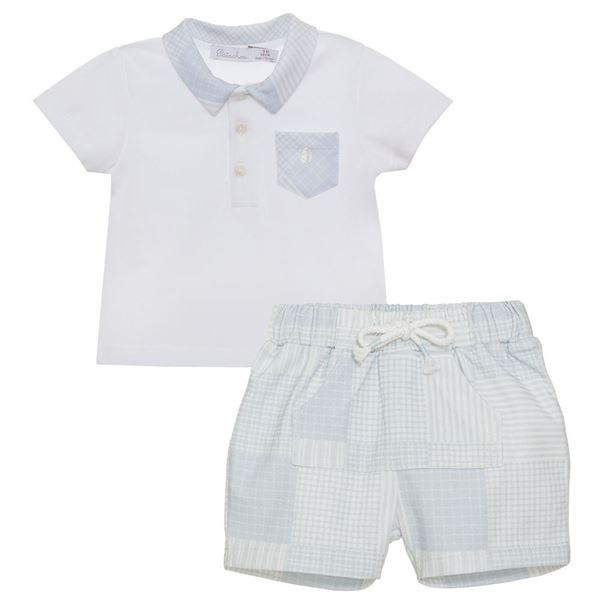 Picture of Patachou Baby Boys 2 Piece Blue Checked T-Shirt & Shorts