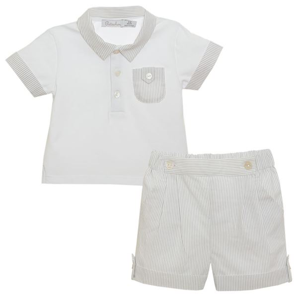 Picture of Patchou Baby Boys Grey Top & Shorts