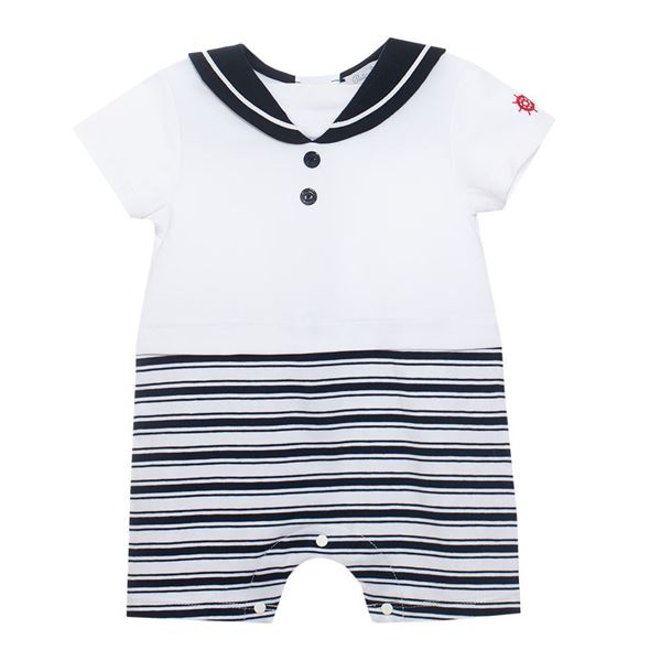 Picture of Patachou Baby Boys Navy Stripe Romper