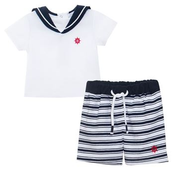 Picture of Patachou Baby Boys Navy Stripe Top & Shorts