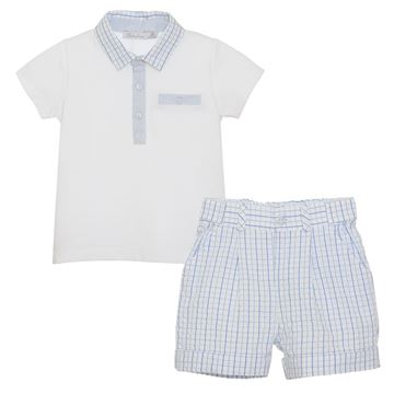 Picture of Patachou Boys Blue Checked Top & Shorts