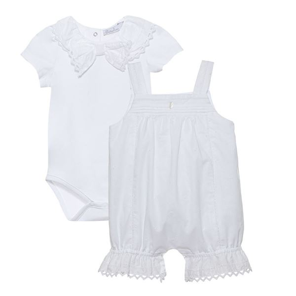 Picture of Patachou Baby Girls White Bow Vest & Dungaree Set