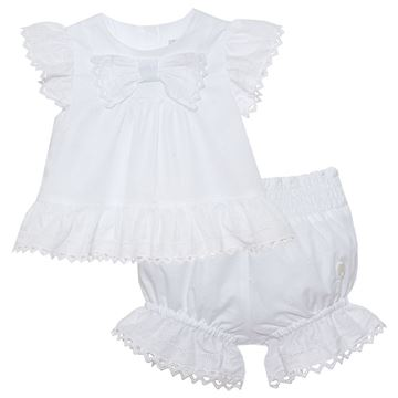 Picture of Patachou Baby Girls White Bow Top & Knickers