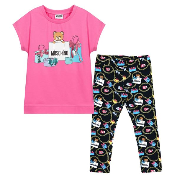 Picture of Moschino Girls Pink Bag Tunic & Black Leggings