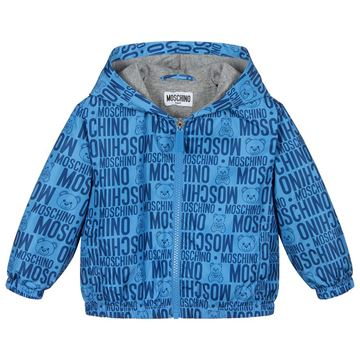 Picture of Moschino Boys Blue Logo Printed Jacket