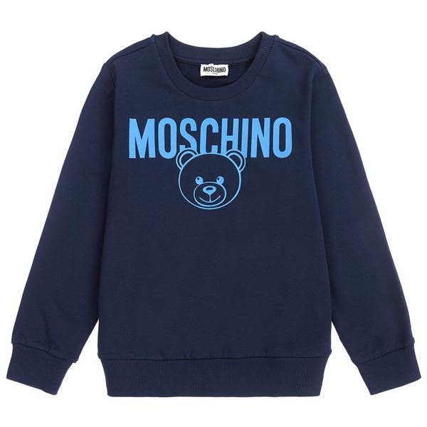 Picture of Moschino Boys Navy Teddy Logo Jumper