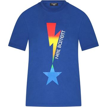 Picture of Neil Barrett Boys Blue Multi Coloured Lightening with Star T-Shirt
