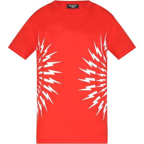Picture of Neil Barrett Boys Red Lightening Bolt T-Shirt