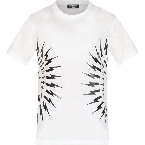 Picture of Neil Barrett Boys White Lightening Bolt T-Shirt