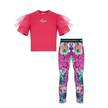 Picture of MSGM Girls Pink Top & Printed Leggings