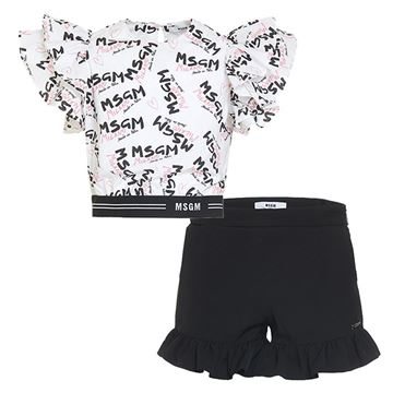 Picture of MSGM Girls Black & White Logo Top & Shorts
