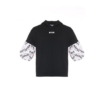 Picture of MSGM Girls Black Jumper Dress with Logo Sleeves