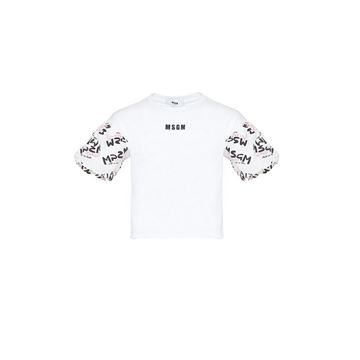 Picture of MSGM Girls White T-Shirt with Logo Sleeves