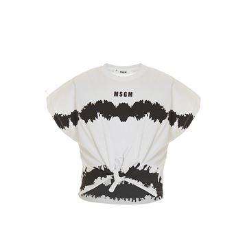Picture of MSGM Girls Black & White Tie Dye T-Shirt