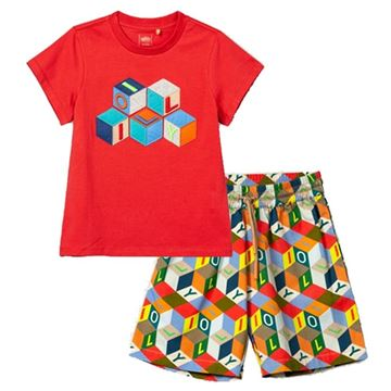 Picture of Oilily Boys Red Tak T-Shirt & Plank Shorts Set