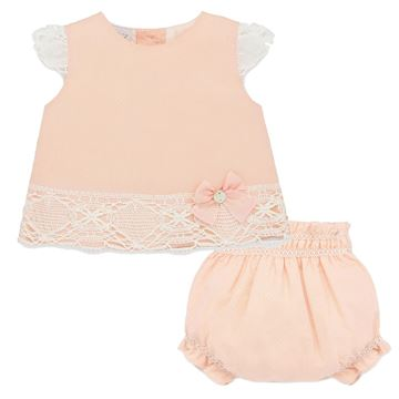 Picture of Paz Rodriguez Girls Peach Dress & Knickers Set