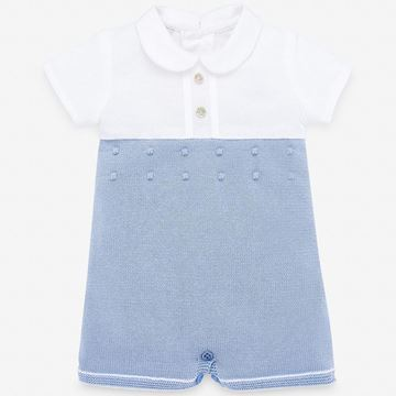 Picture of Paz Rodriguez Boys Blue Knitted Romper