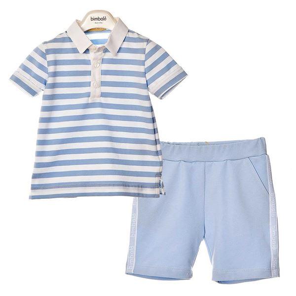 Picture of Bimbalo Boys Blue Stripe Polo & Shorts