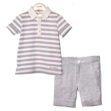 Picture of Bimbalo Boys Grey Stripe Polo & Shorts