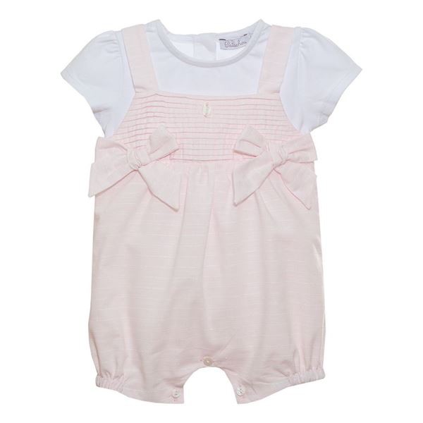 Picture of Patachou Baby Girls Pink Short Romper with Bows