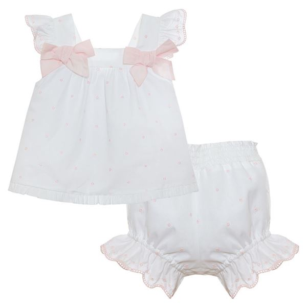 Picture of Patachou Baby Girls Pink & White Spotty Top & Knickers