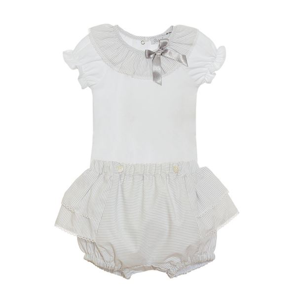 Picture of Patachou Baby Girls Grey & White Top & Knicker Set