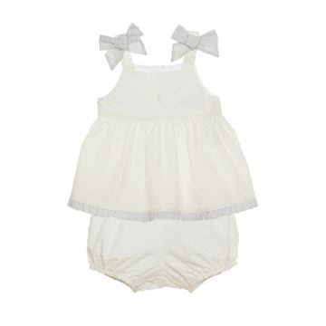 Picture of Patachou Baby Girl White Top & Shorts with Grey Bows