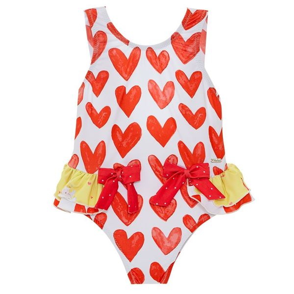 Picture of Patachou Girls Red Hearts Swimming Costume
