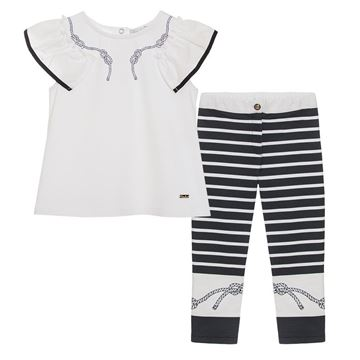 Picture of Patachou Girls Navy & White Nautical Stripe Top & Leggings