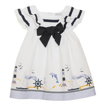 Picture of Patachou Girls White Nautical Print Dress