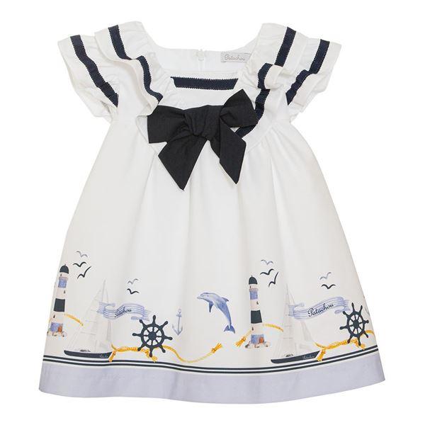 Picture of Patachou Girls White Nautical Print Dress