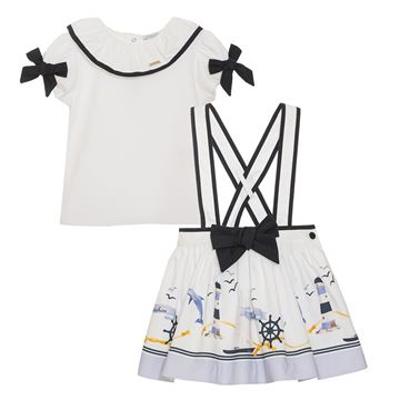 Picture of Patachou Girls Navy & White Nautical Top & Skirt
